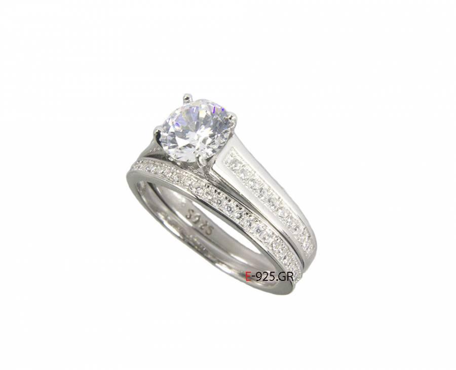 Ασημένιο 925 μονόπετρο δαχτυλίδι e25d5b2f490